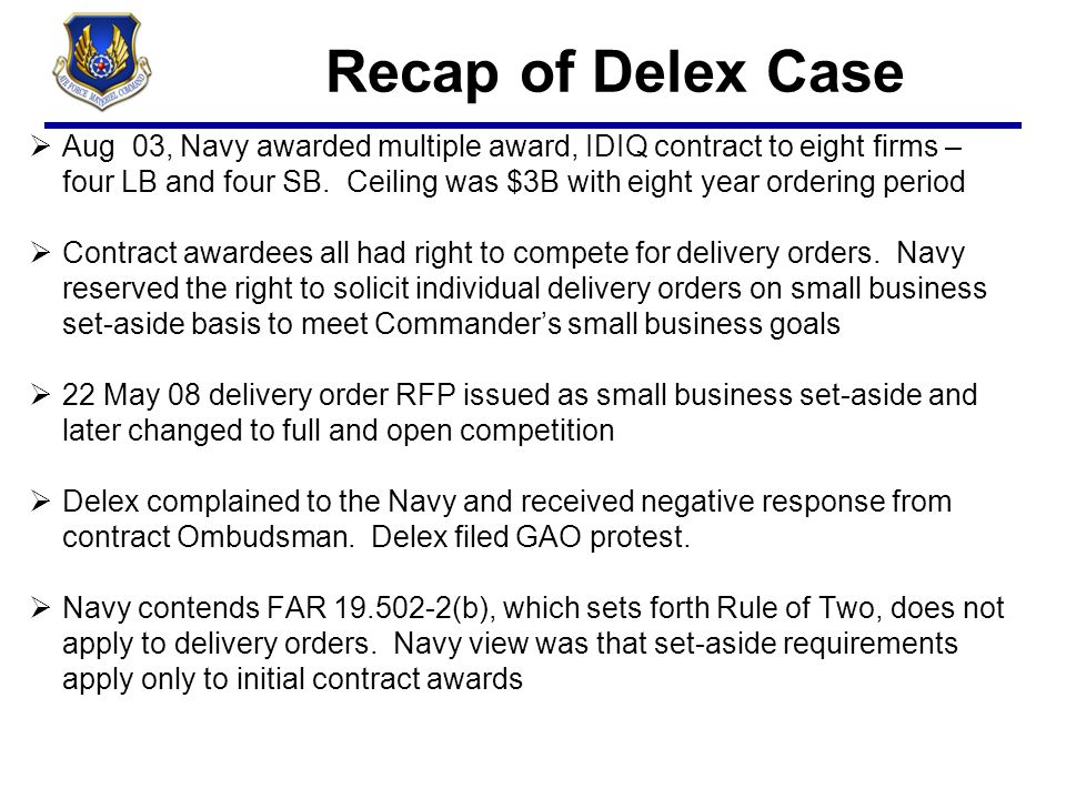 Recap of Delex Case 4/6/2017.