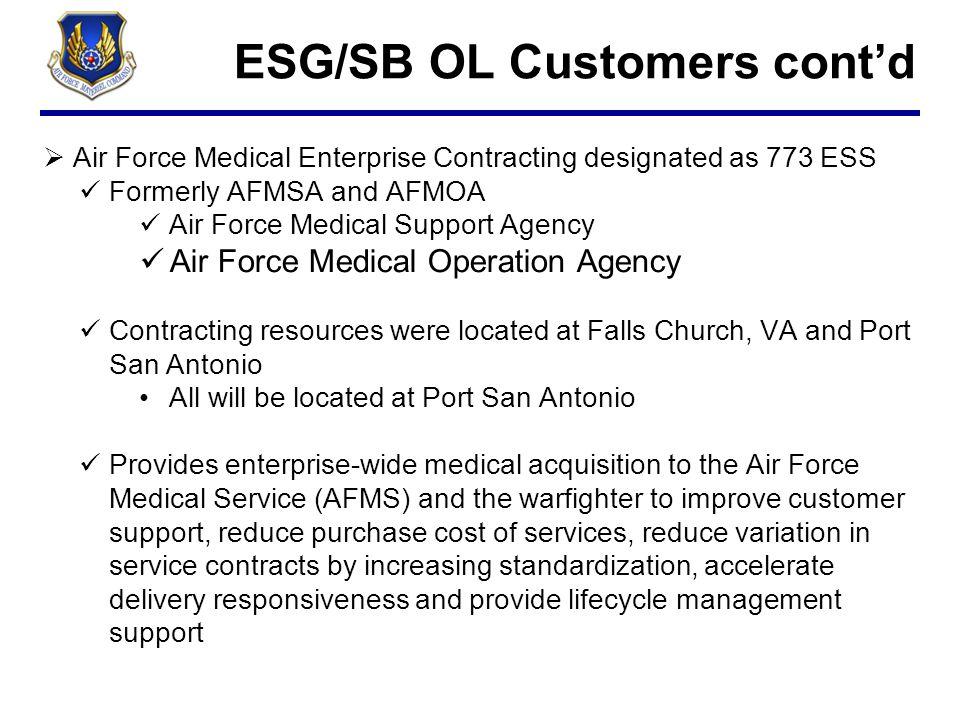 ESG/SB OL Customers cont'd