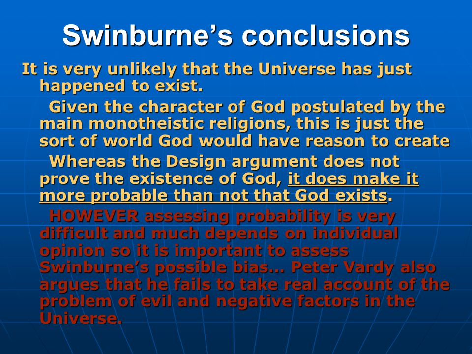 Swinburne's conclusions