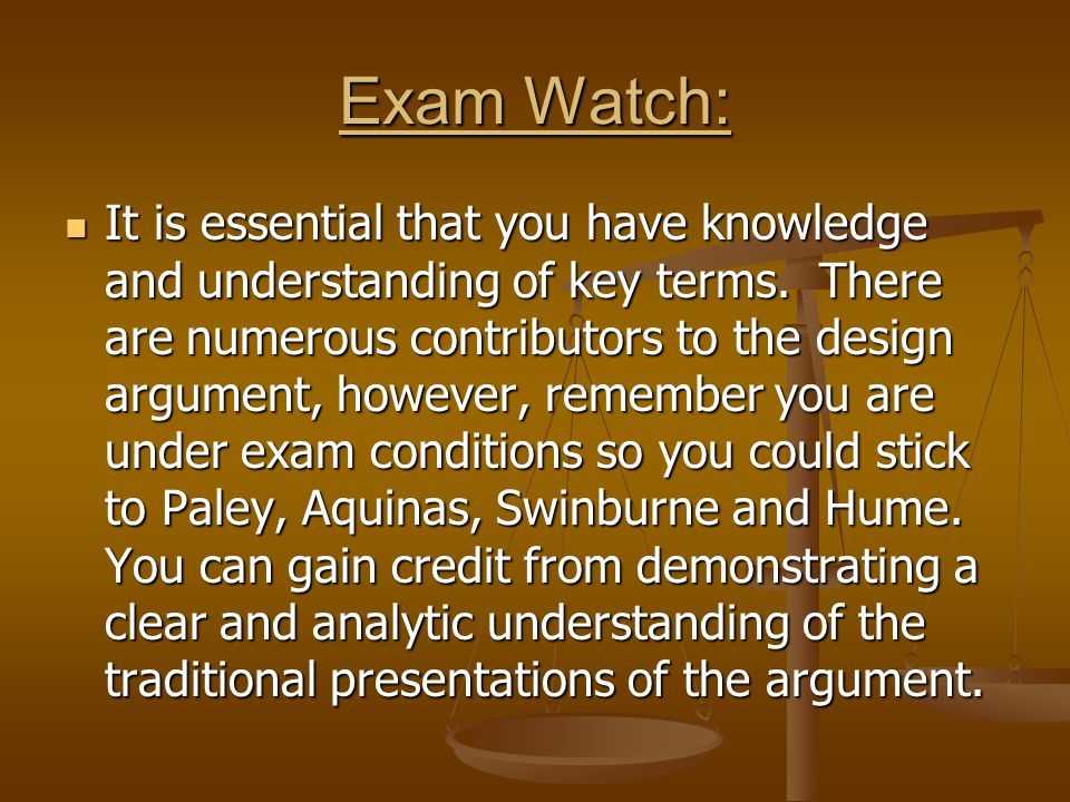 Exam Watch: