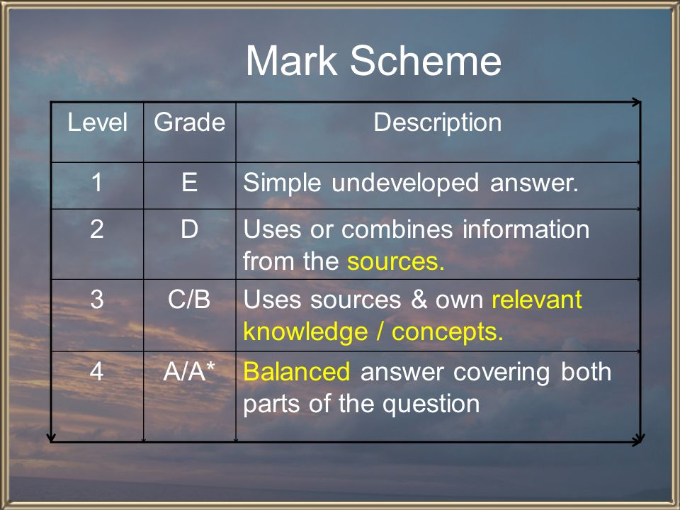 Mark Scheme Level Grade Description 1 E Simple undeveloped answer. 2 D