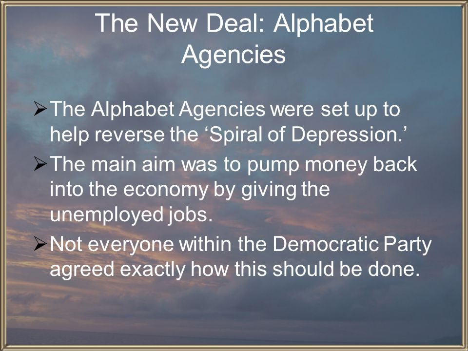 The New Deal: Alphabet Agencies