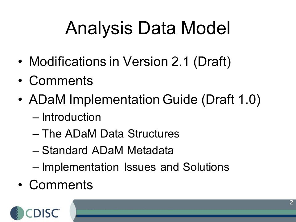Analysis Data Model Modifications in Version 2.1 (Draft) Comments