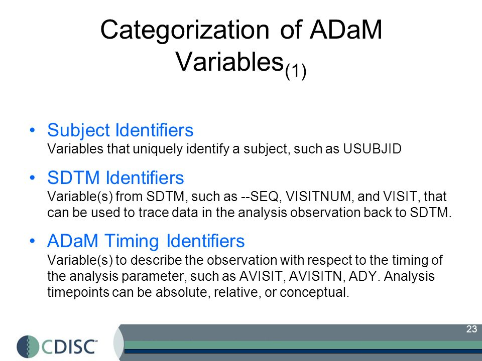 Categorization of ADaM Variables(1)