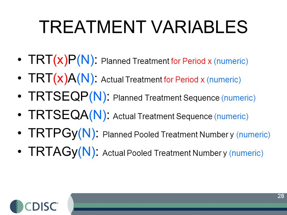 TREATMENT VARIABLES TRT(x)P(N): Planned Treatment for Period x (numeric) TRT(x)A(N): Actual Treatment for Period x (numeric)