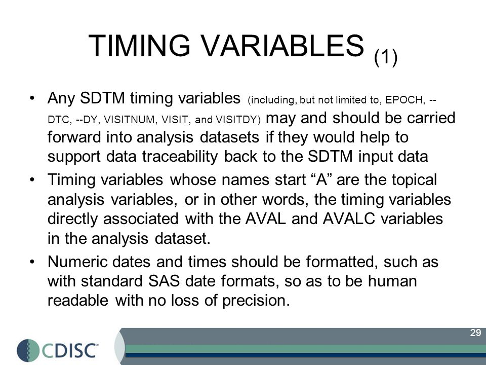 TIMING VARIABLES (1)