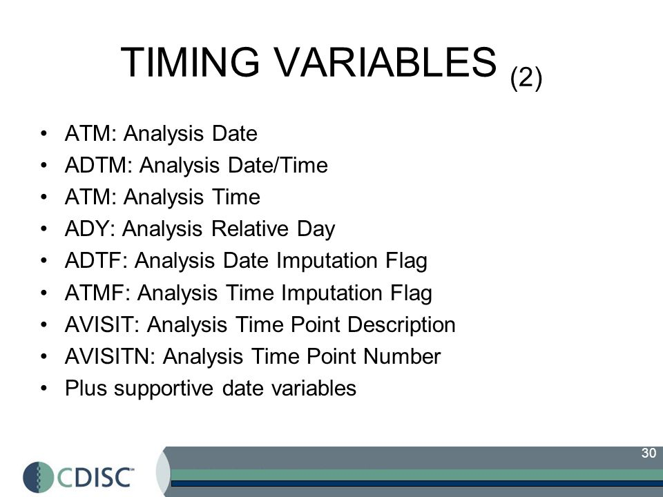 TIMING VARIABLES (2) ATM: Analysis Date ADTM: Analysis Date/Time