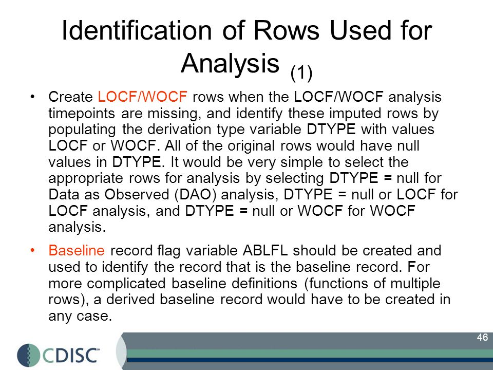 Identification of Rows Used for Analysis (1)