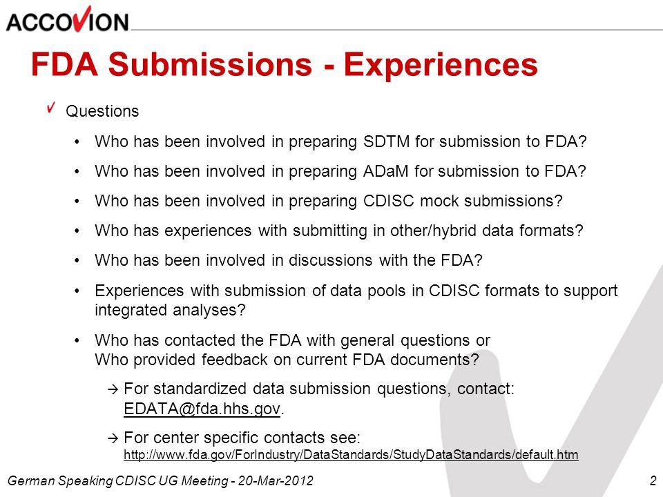 FDA Submissions - Experiences