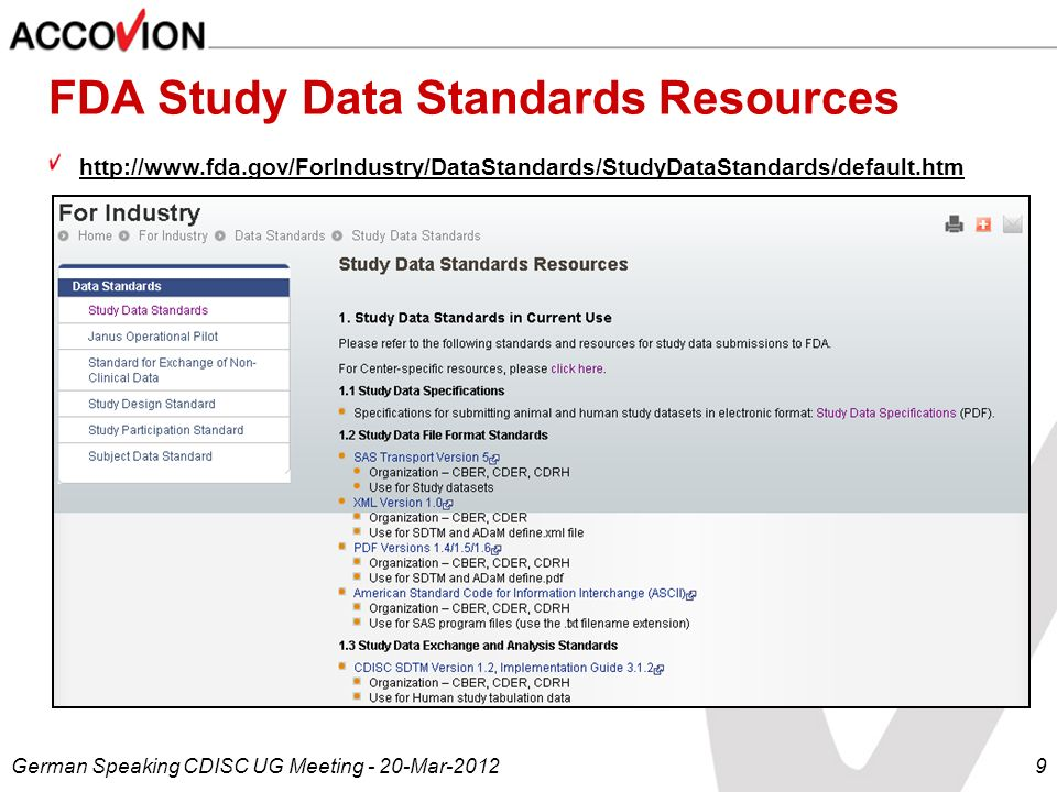 FDA Study Data Standards Resources