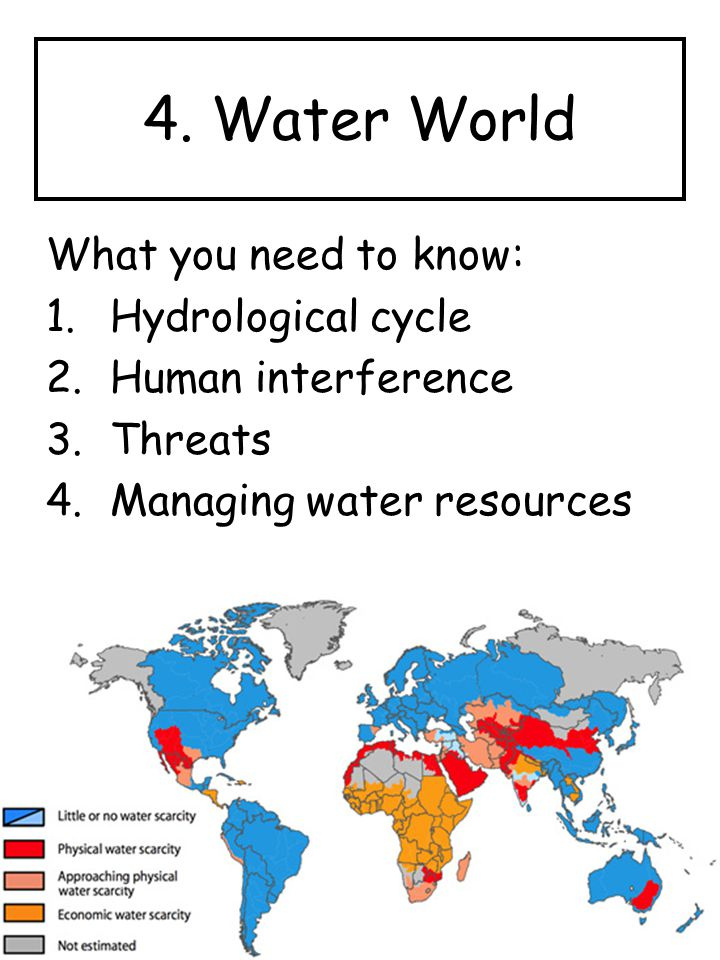 4. Water World What you need to know: Hydrological cycle