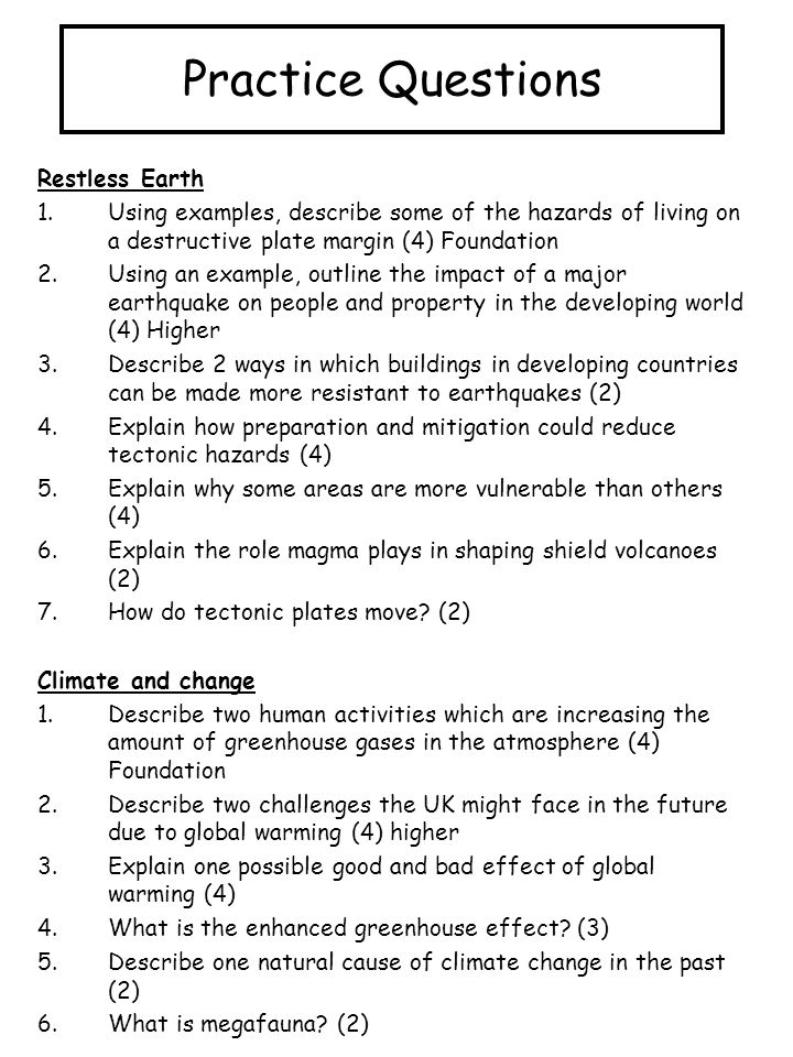 Practice Questions Restless Earth