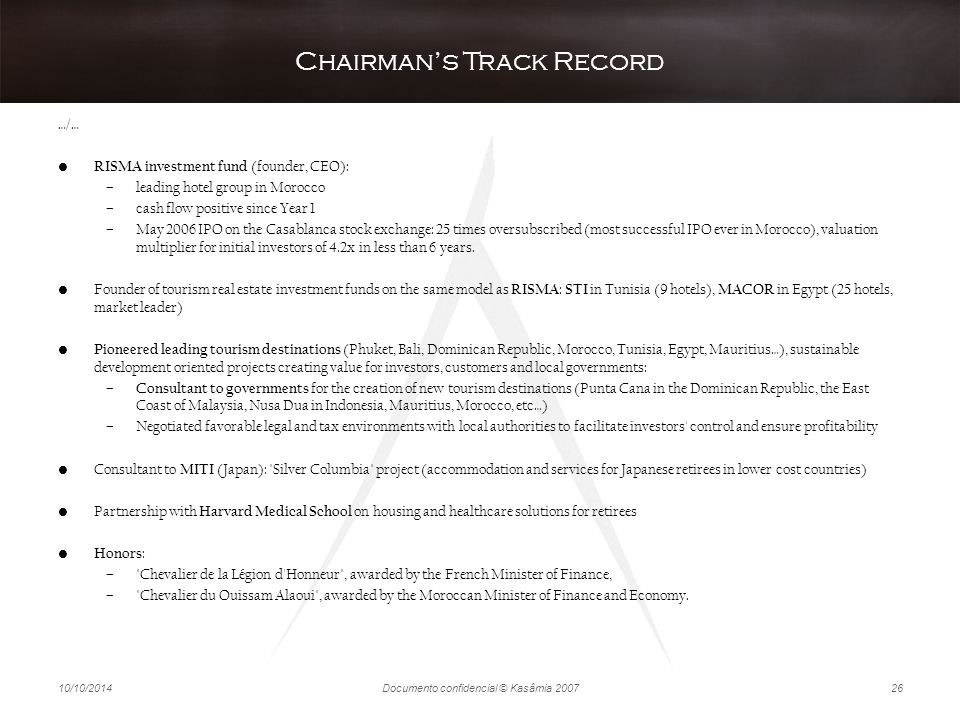 Chairman's Track Record