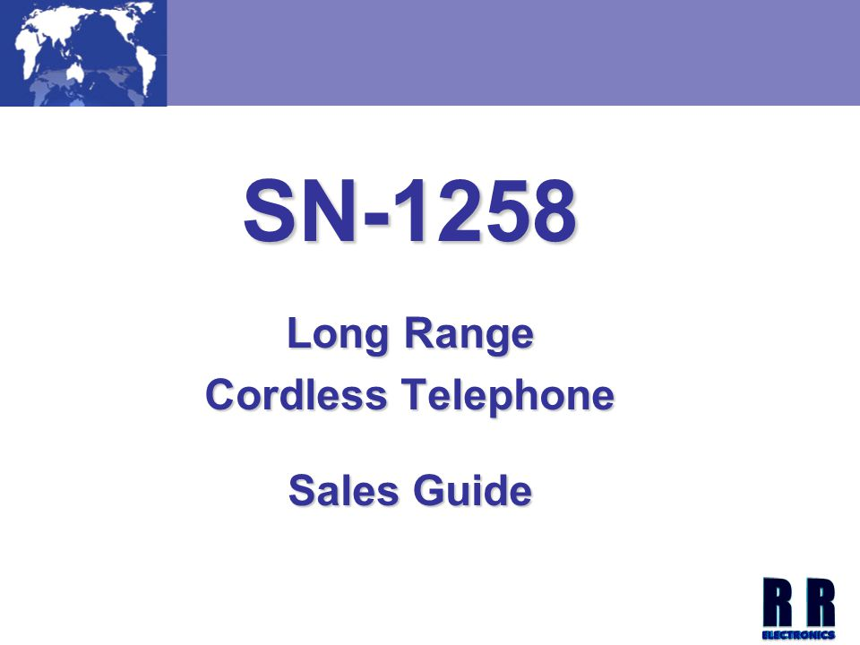 SN-1258 Long Range Cordless Telephone Sales Guide