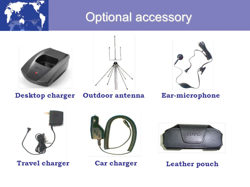 Optional accessory Desktop charger Outdoor antenna Ear-microphone