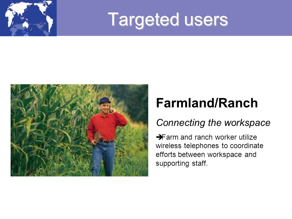Targeted users Farmland/Ranch Connecting the workspace