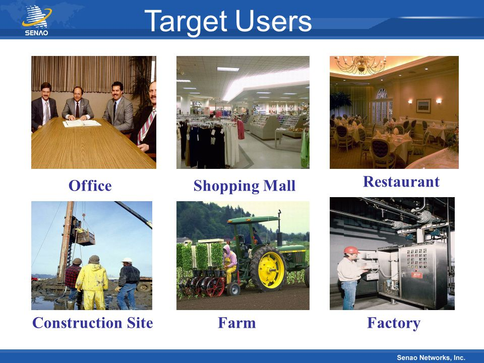 Target Users Restaurant Office Shopping Mall Construction Site Farm