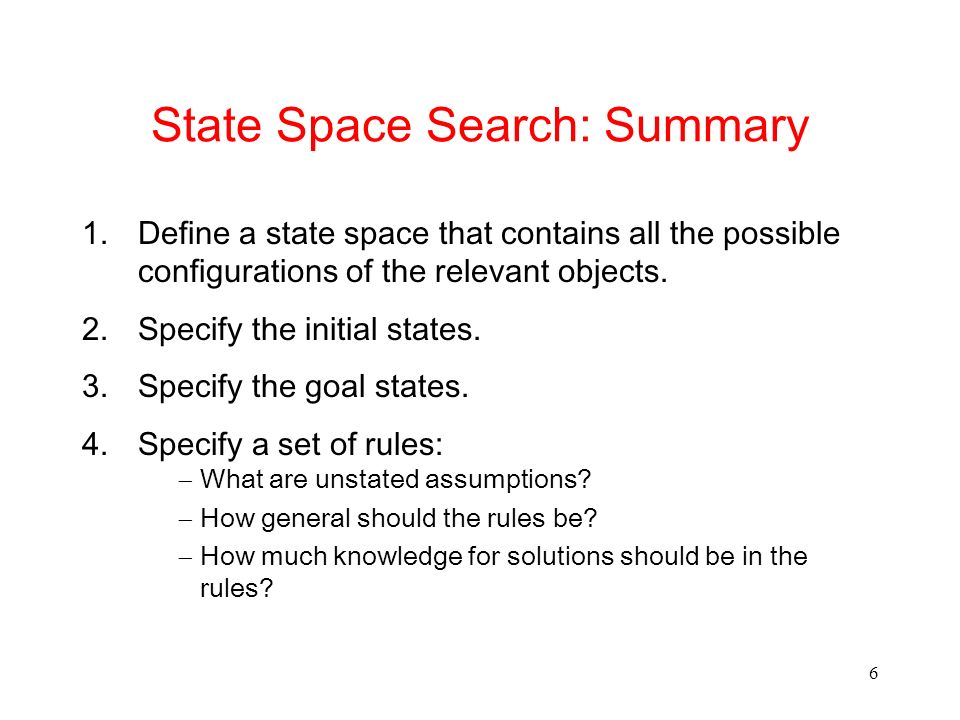 State Space Search: Summary