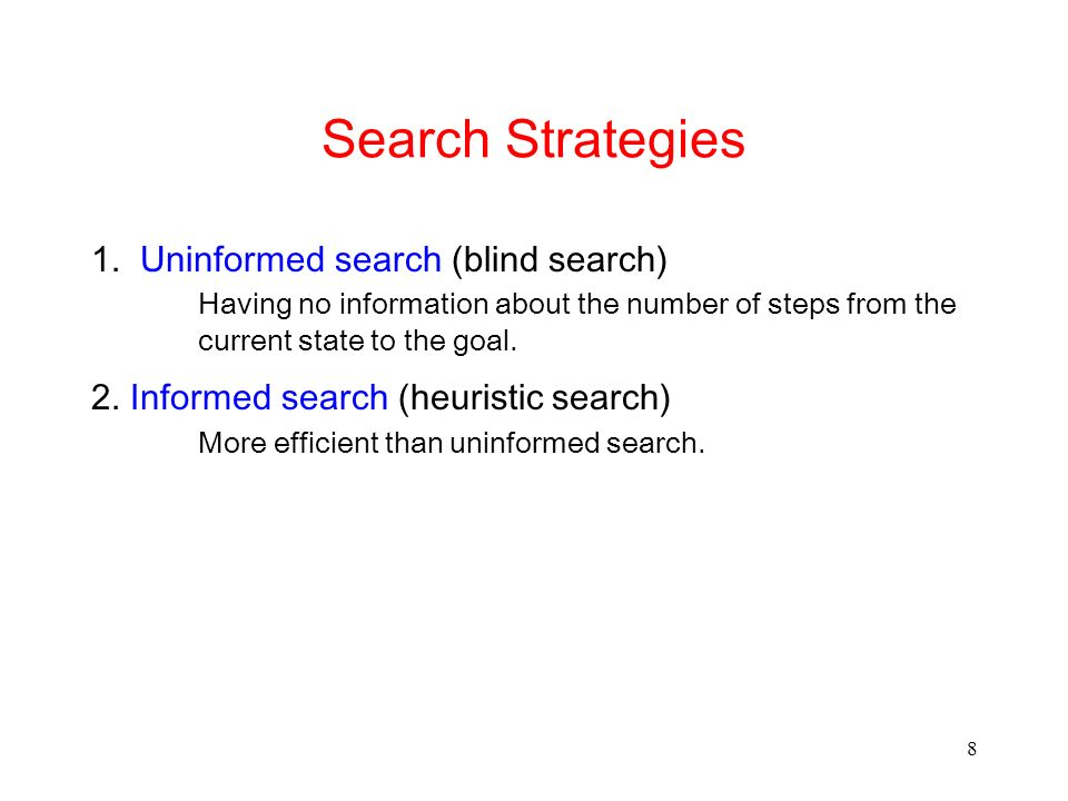 Search Strategies 1. Uninformed search (blind search)