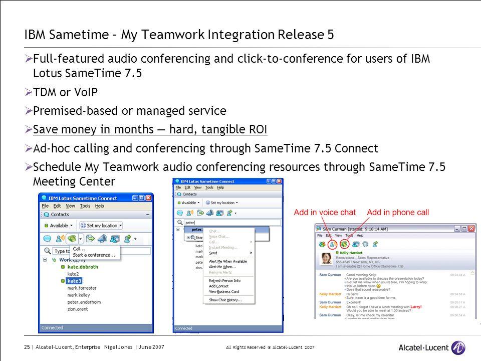 IBM Sametime – My Teamwork Integration Release 5