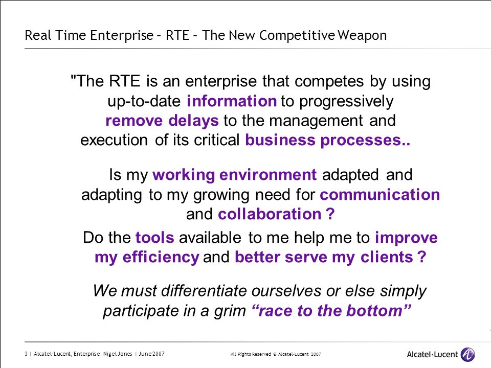 Real Time Enterprise – RTE – The New Competitive Weapon