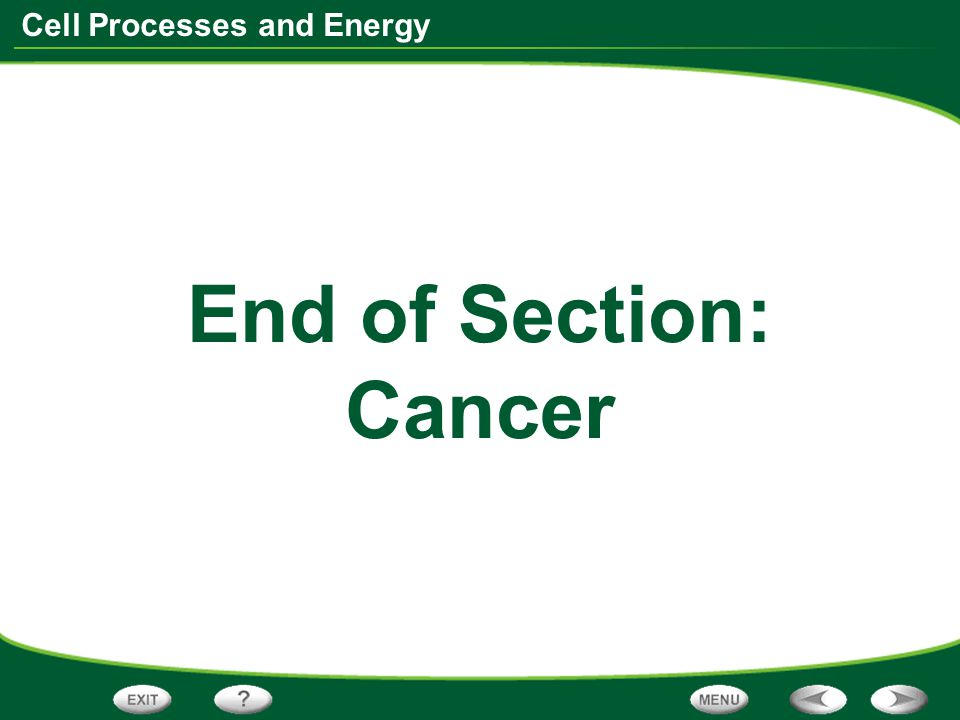 End of Section: Cancer