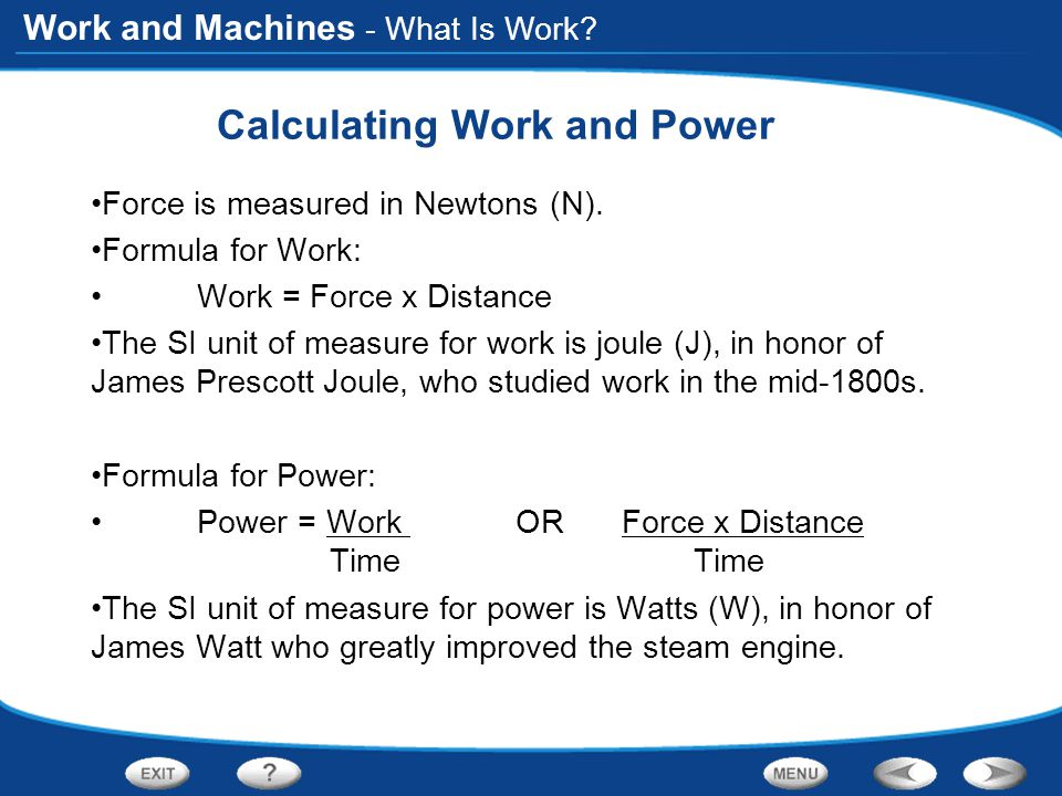 Calculating Work and Power