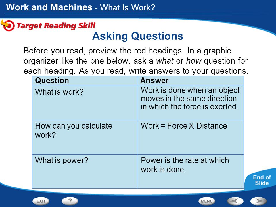 Asking Questions - What Is Work