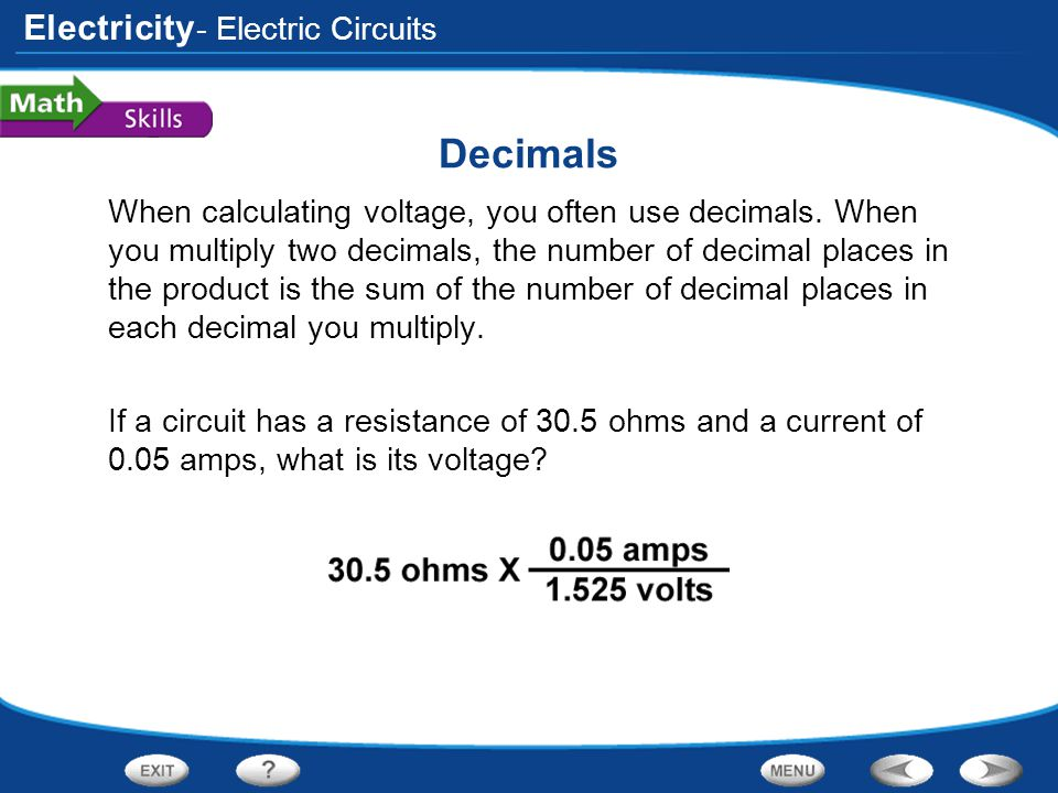 Decimals - Electric Circuits