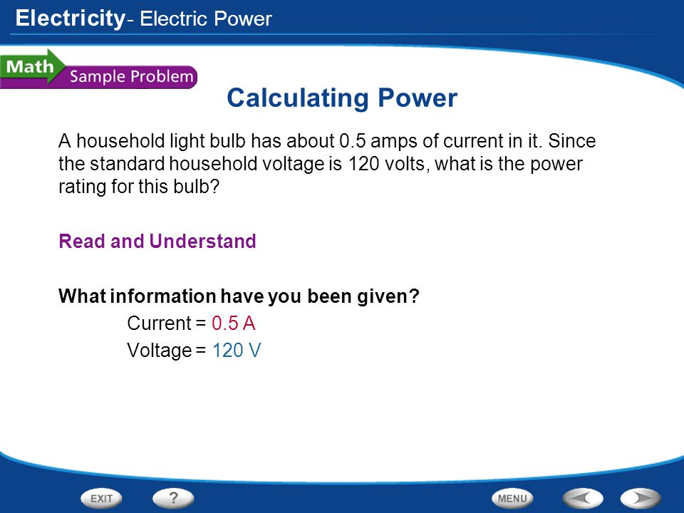 Calculating Power - Electric Power