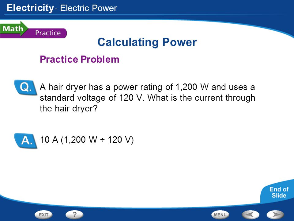 Calculating Power Practice Problem - Electric Power