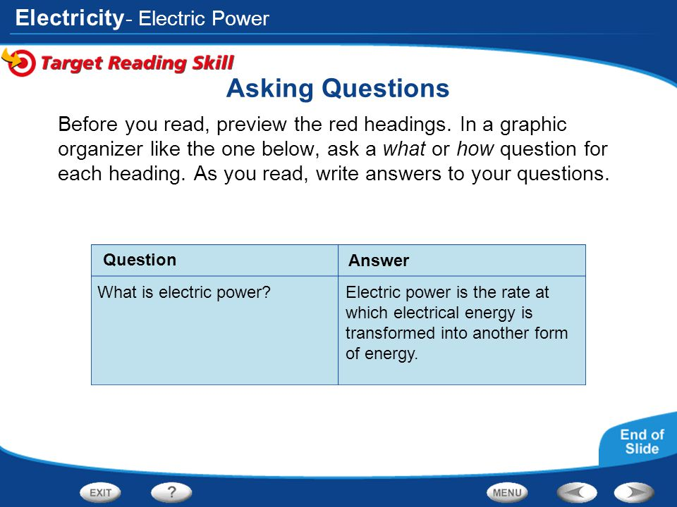 Asking Questions - Electric Power