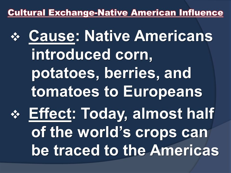 Cultural Exchange-Native American Influence