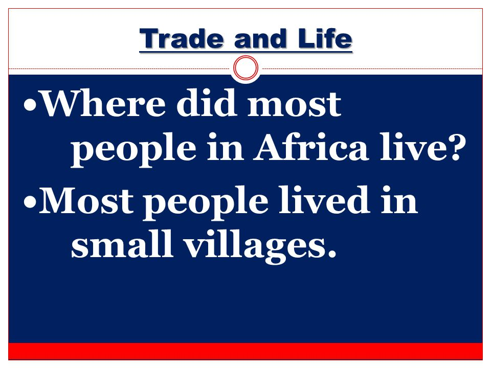 Where did most people in Africa live
