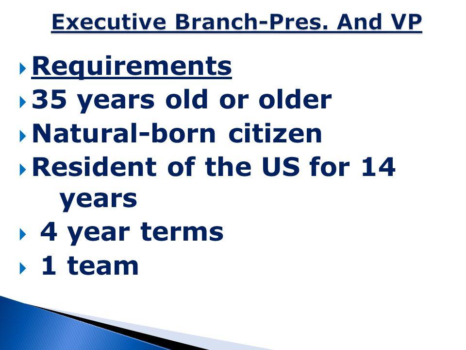 Executive Branch-Pres. And VP