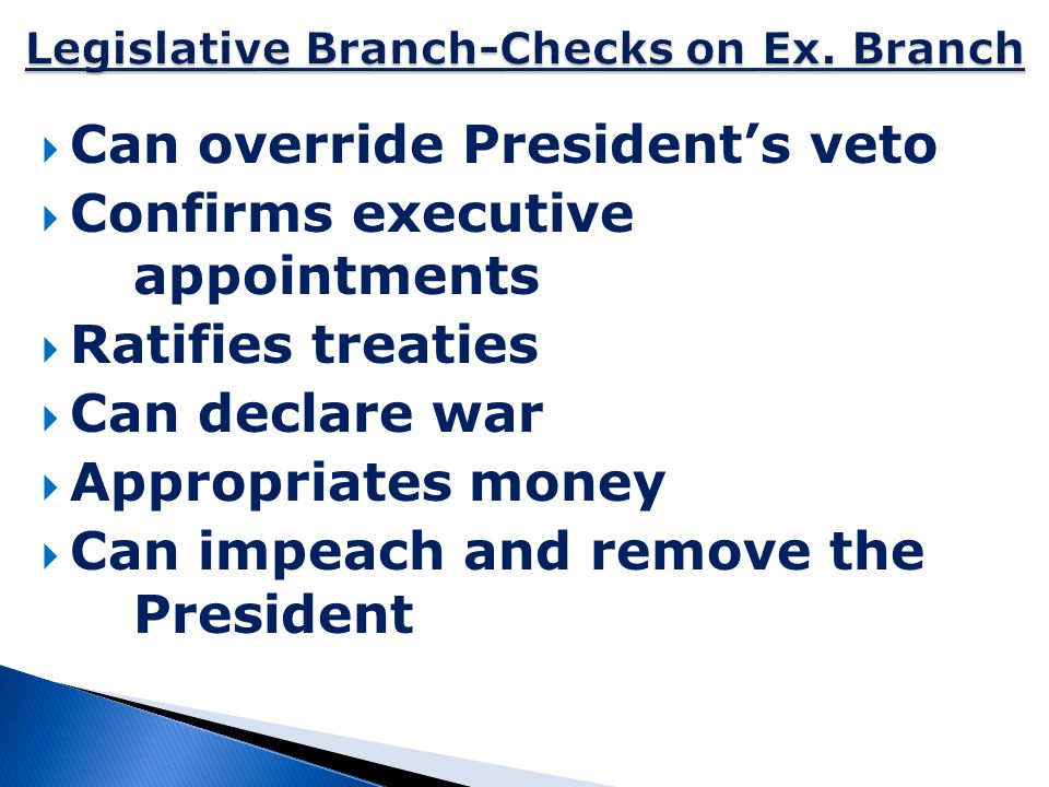 Legislative Branch-Checks on Ex. Branch