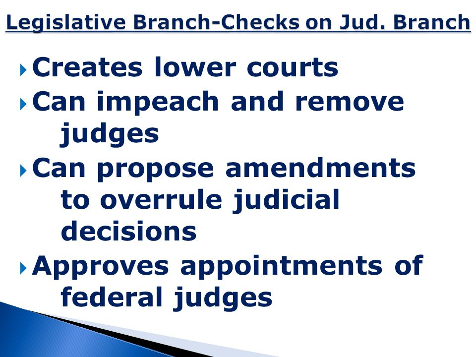 Legislative Branch-Checks on Jud. Branch