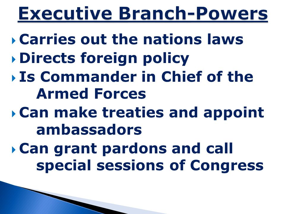 Executive Branch-Powers