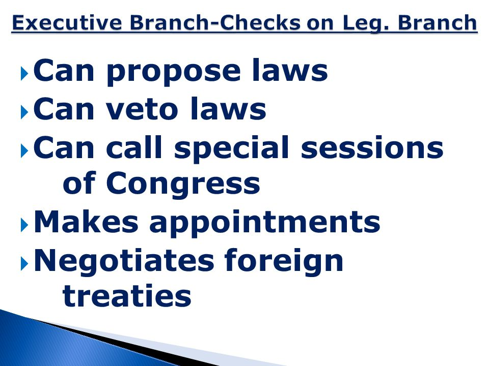 Executive Branch-Checks on Leg. Branch