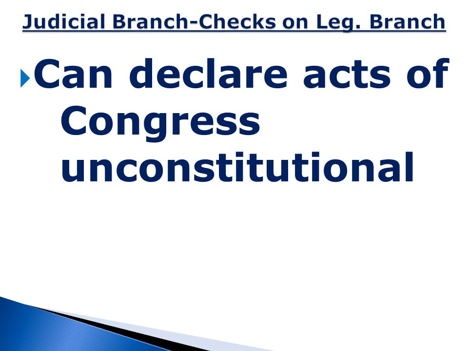 Judicial Branch-Checks on Leg. Branch