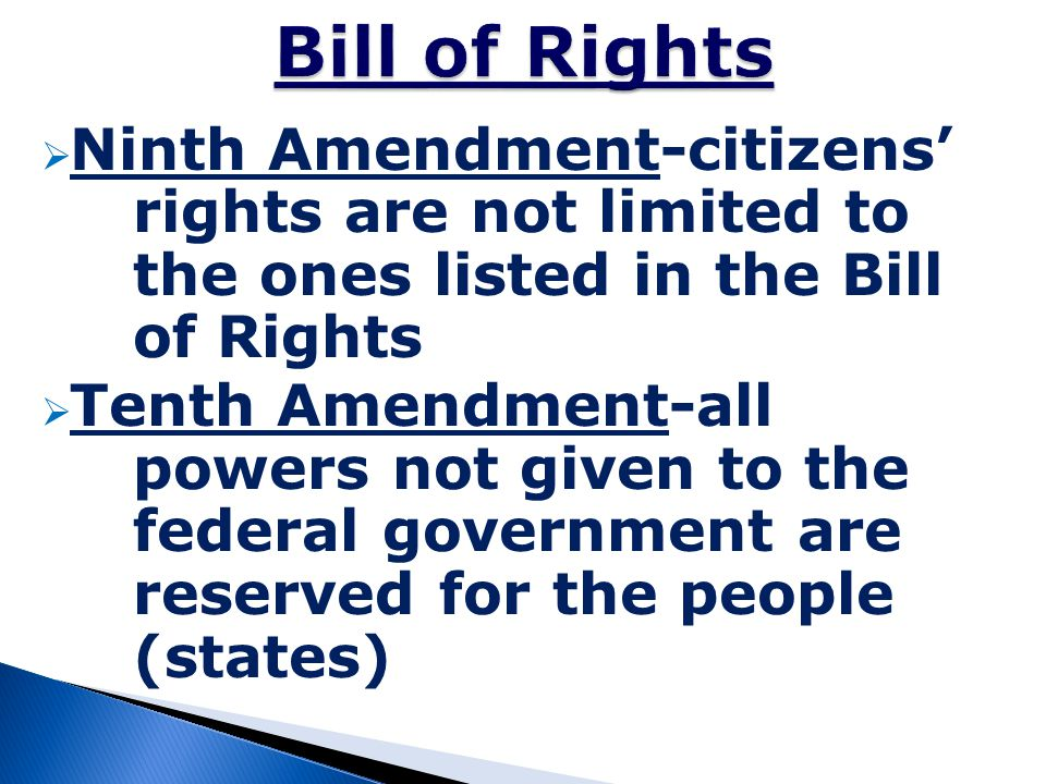 Bill of Rights Ninth Amendment-citizens' rights are not limited to the ones listed in the Bill of Rights.