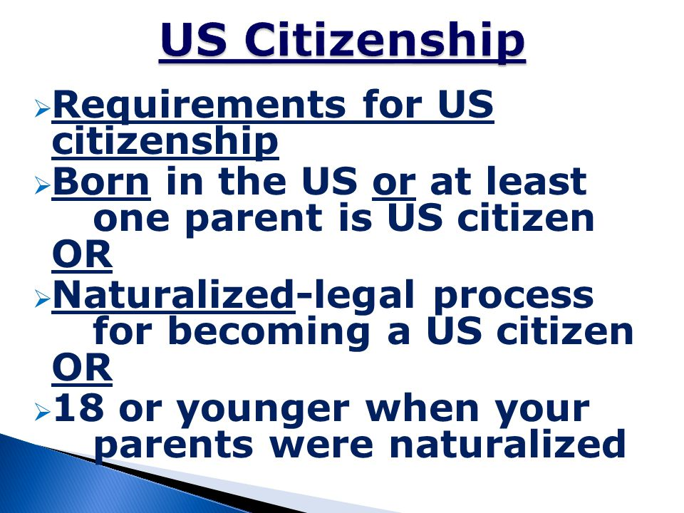 US Citizenship Requirements for US citizenship