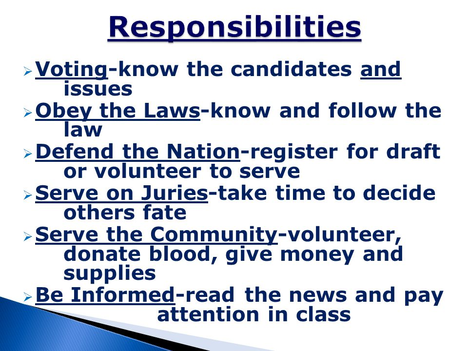Responsibilities Voting-know the candidates and issues