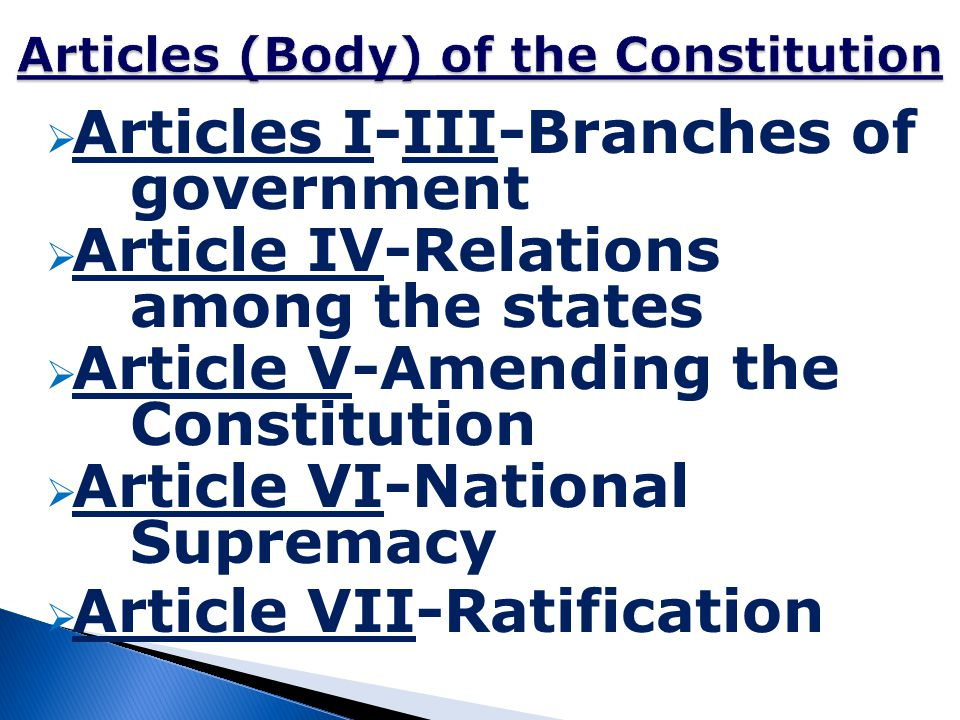 Articles (Body) of the Constitution