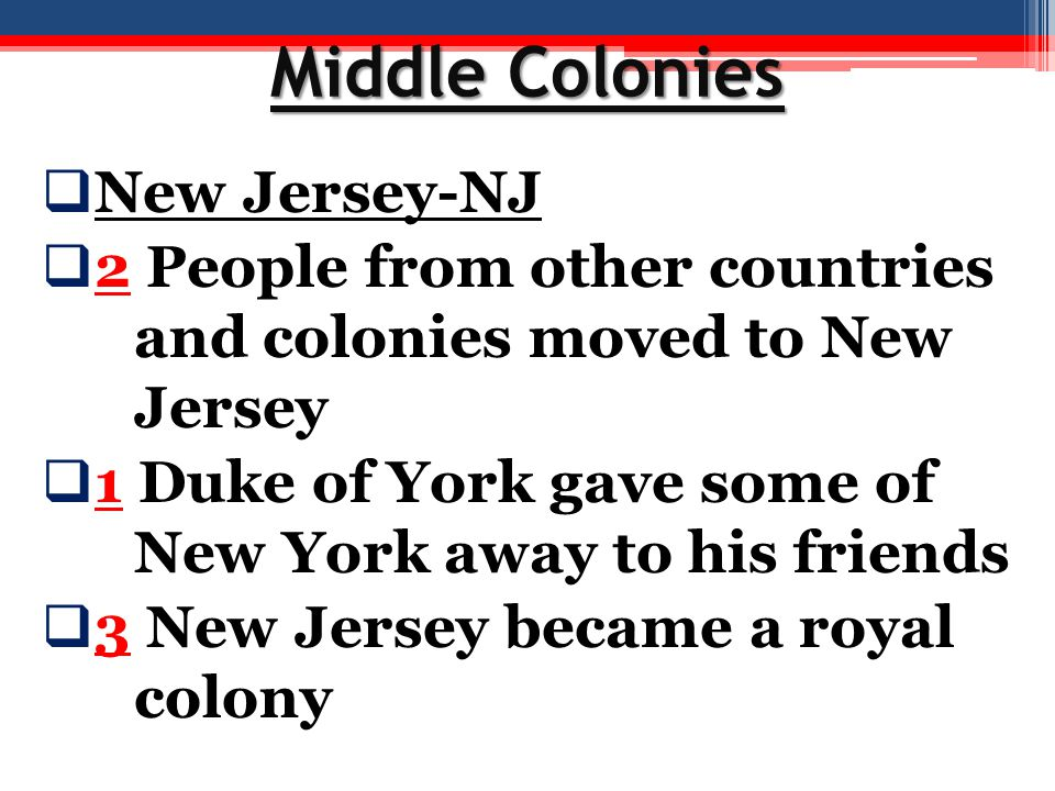 Middle Colonies New Jersey-NJ
