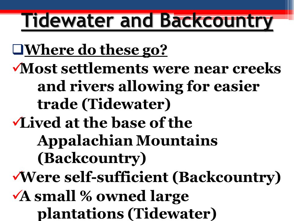 Tidewater and Backcountry