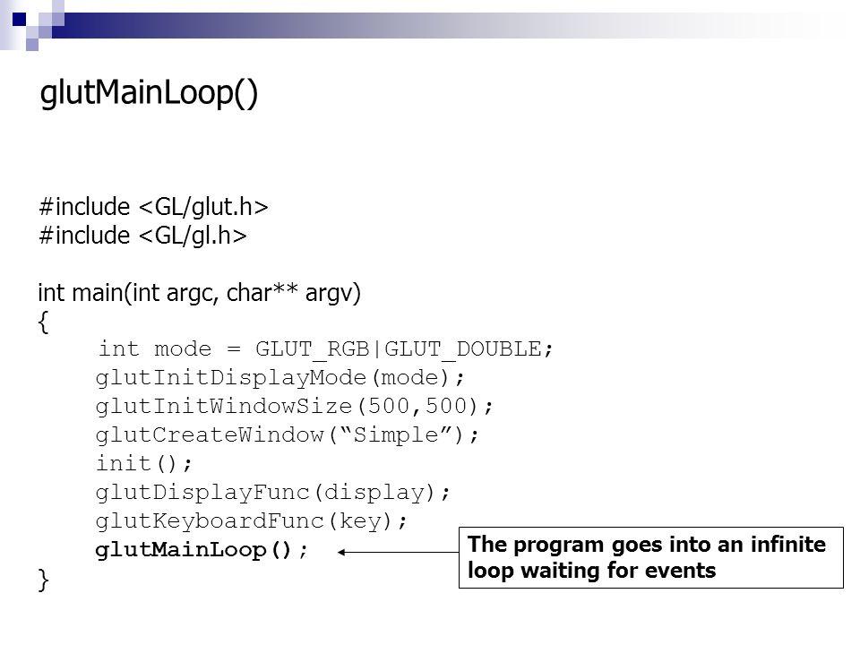 glutMainLoop() #include <GL/glut.h> #include <GL/gl.h>