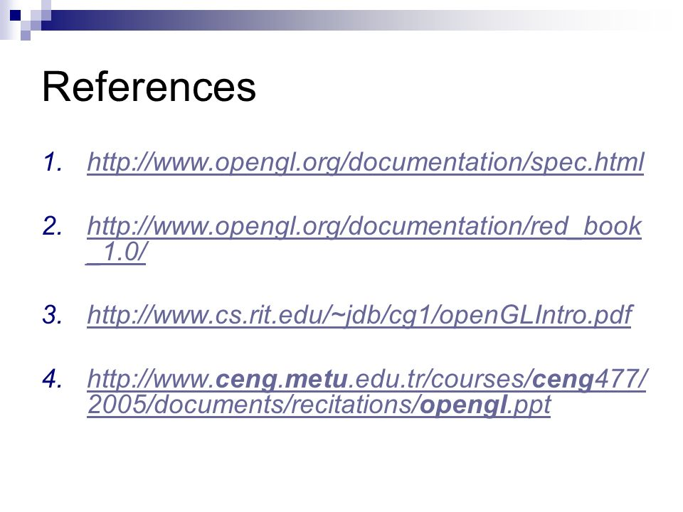 References http://www.opengl.org/documentation/spec.html