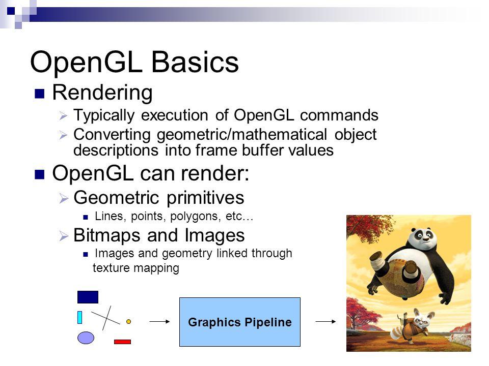 OpenGL Basics Rendering OpenGL can render: Geometric primitives