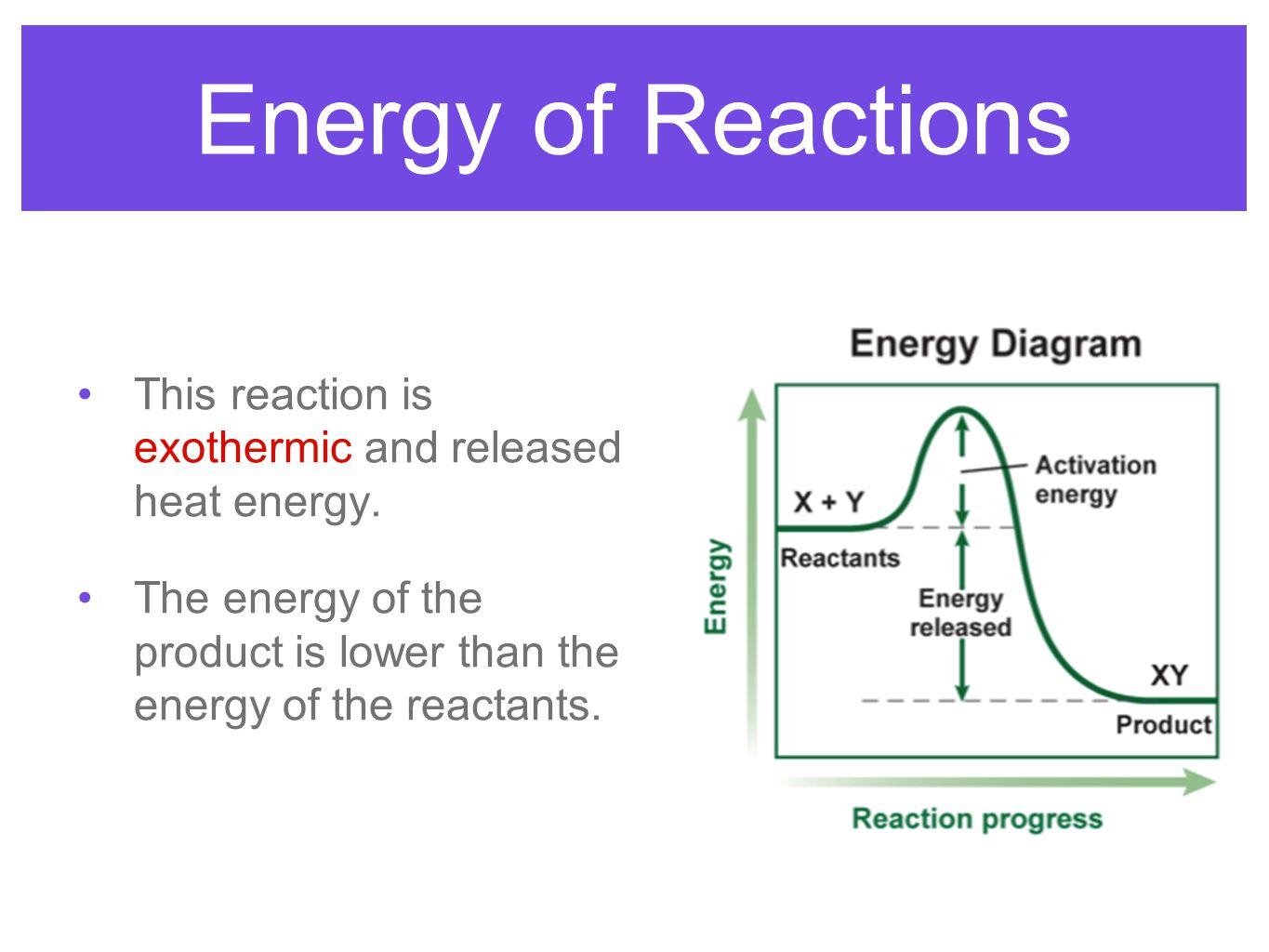 Energy of Reactions This reaction is exothermic and released heat energy.